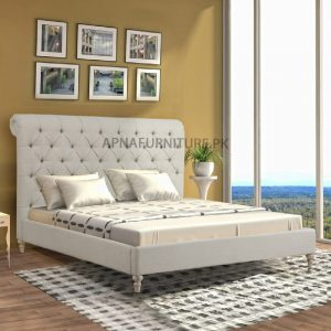 double bed design with wooden frame