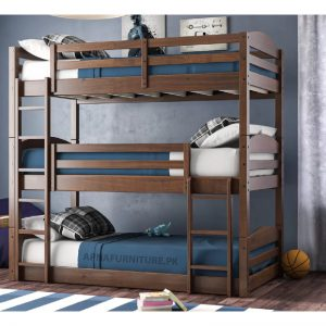 Three tier bunk bed with mattress