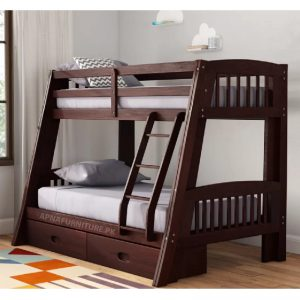 Beautiful bunk bed with storage space and mattress
