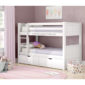 White bunk bed with storage drawers